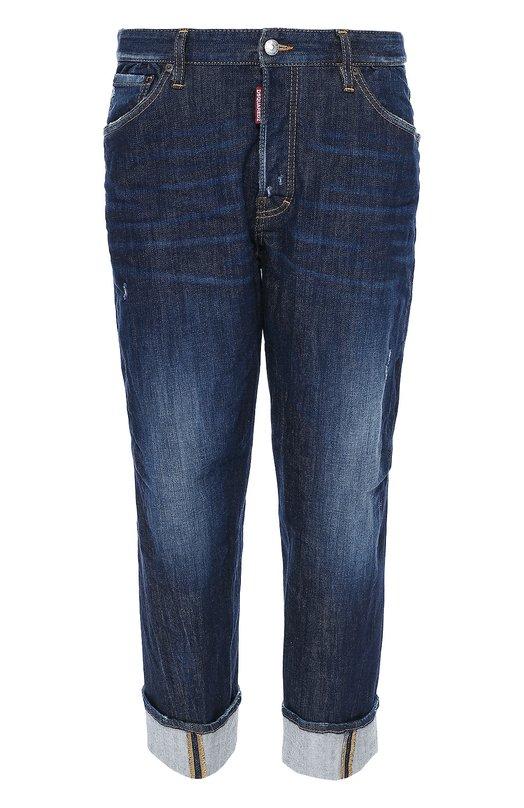 Укороченные джинсы свободного кроя Dsquared2Джинсы<br>Мастера марки сшили укороченные синие джинсы с отворотами из мягкого хлопка с декоративными потертостями. Модель с классической посадкой вошла в коллекцию сезона осень-зима 2016 года. Попробуйте носить с красным свитшотом, бомбером в тон и черными кроссовками.<br><br>Российский размер RU: 46<br>Пол: Мужской<br>Возраст: Взрослый<br>Размер производителя vendor: 46<br>Материал: Хлопок: 99%; Эластан: 1%;<br>Цвет: Синий