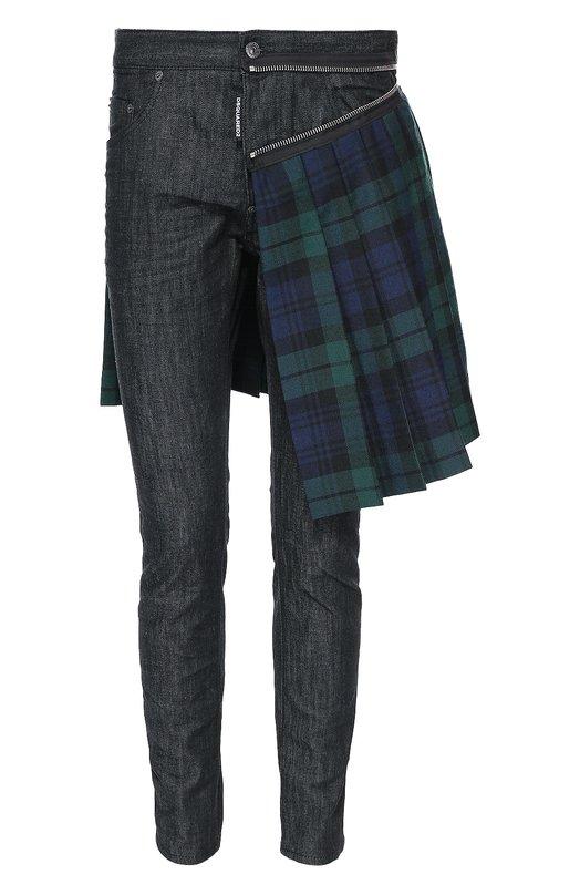 Зауженные джинсы с декоративным килтом Dsquared2 S71LB0216/S30400