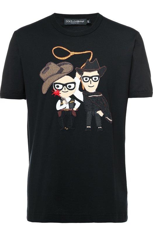 Хлопковая футболка с аппликацией DG Family Dolce &amp; GabbanaФутболки<br><br><br>Российский размер RU: 52<br>Пол: Мужской<br>Возраст: Взрослый<br>Размер производителя vendor: 52<br>Материал: Хлопок: 100%;<br>Цвет: Черный