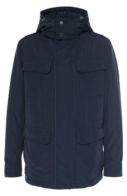 Утепленная куртка на молнии с капюшоном Pal ZileriКуртки<br>Куртка с четырьмя накладными карманами и воротником-стойкой вошла в коллекцию сезона осень-зима 2016 года. Утепленная модель сшита из непромокаемого прочного нейлона. Изделие застегивается на молнию, скрытую клапаном с кожаным кантом, съемный капюшон – на две кнопки.<br><br>Российский размер RU: 52<br>Пол: Мужской<br>Возраст: Взрослый<br>Размер производителя vendor: 52<br>Материал: Полиэстер: 100%; Подкладка-полиэстер: 100%; Отделка кожа натуральная: 100%;<br>Цвет: Темно-синий