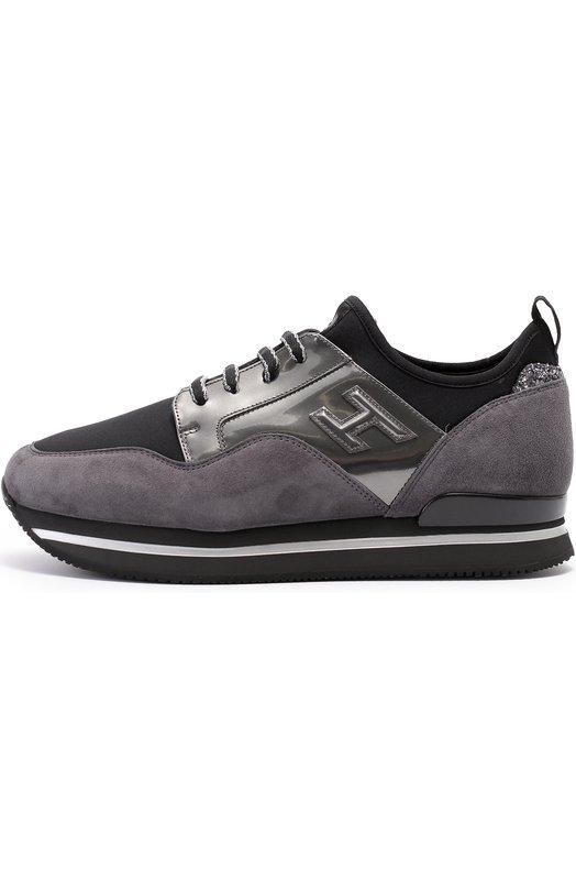 Комбинированные кроссовки с глиттером на заднике Hogan HXW2220V620EBU