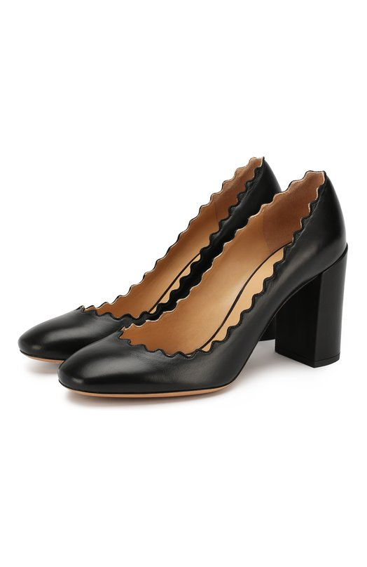 Купить Кожаные туфли Lauren с фигурным вырезом Chloé, CH26231/E75, Италия, Черный, Кожа натуральная: 100%; Стелька-кожа: 100%; Подошва-кожа: 100%;