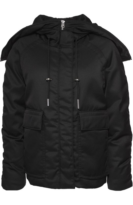 Укороченный пуховик с накладными карманами и капюшоном Acne StudiosКуртки<br>Для создания черного пуховика из осенне-зимней коллекции 2016 года использован водоотталкивающий хлопковый поплин, для подкладки — оранжевый гладкий текстиль. Модель с рукавами-реглан утеплена пухом и пером. Куртка дополнена боковыми карманами с клапанами, капюшон — молнией.<br><br>Российский размер RU: 46<br>Пол: Женский<br>Возраст: Взрослый<br>Размер производителя vendor: 38<br>Материал: Полиэстер: 85%; Пух: 80%; Перо: 20%; Хлопок: 15%; Подкладка-полиэстер: 100%;<br>Цвет: Черный