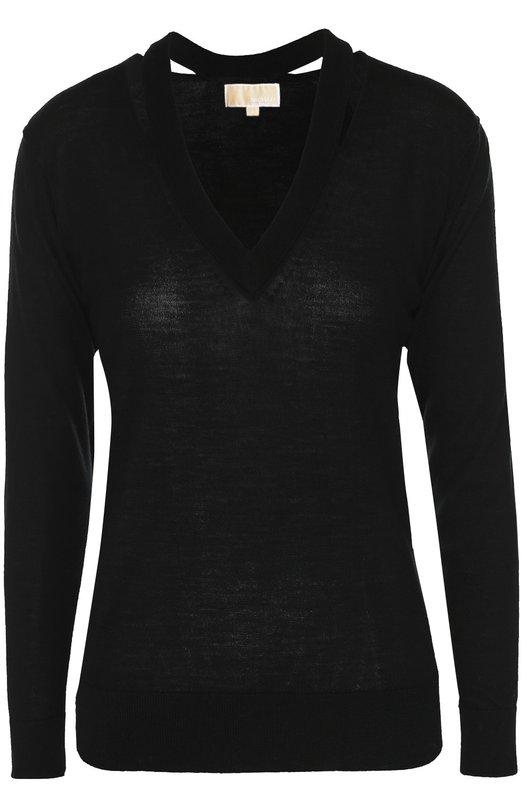 Шерстяной пуловер с V-образным вырезом Michael Michael KorsСвитеры<br><br><br>Российский размер RU: 44<br>Пол: Женский<br>Возраст: Взрослый<br>Размер производителя vendor: M<br>Материал: Шерсть меринос: 100%;<br>Цвет: Черный