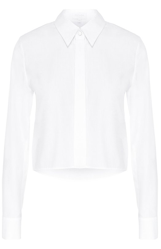 Укороченная хлопковая блуза прямого кроя Escada SportБлузы<br>Для создания укороченной блузы Naska мастера марки использовали мягкий тонкий поплин. Модель из коллекции сезона осень-зима 2016 года застегивается на потайные пуговицы и металлическую кнопку под воротником. Попробуйте носить с длинной плиссированной юбкой синего цвета и черными туфлями.<br><br>Российский размер RU: 46<br>Пол: Женский<br>Возраст: Взрослый<br>Размер производителя vendor: 38<br>Материал: Хлопок: 100%;<br>Цвет: Белый