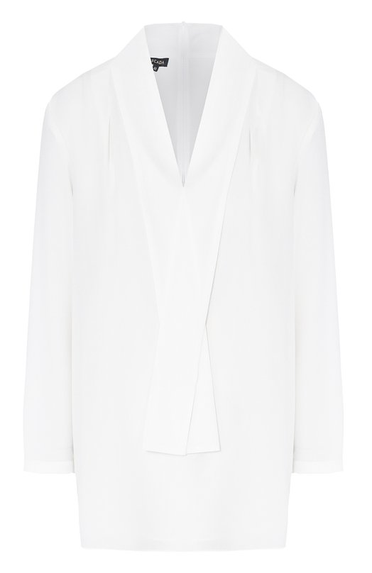 Шелковая блуза прямого кроя с воротником аскот EscadaБлузы<br>Для изготовления блузы Naxa использован мягкий струящийся шелк белого цвета. Модель прямого кроя, с длинными рукавами и воротником аскот вошла в коллекцию сезона осень-зима 2016 года. Наши стилисты рекомендуют носить с юбкой-карандаш средней длины и туфлями-лодочками.<br><br>Российский размер RU: 54<br>Пол: Женский<br>Возраст: Взрослый<br>Размер производителя vendor: 46<br>Материал: Шелк: 100%;<br>Цвет: Белый