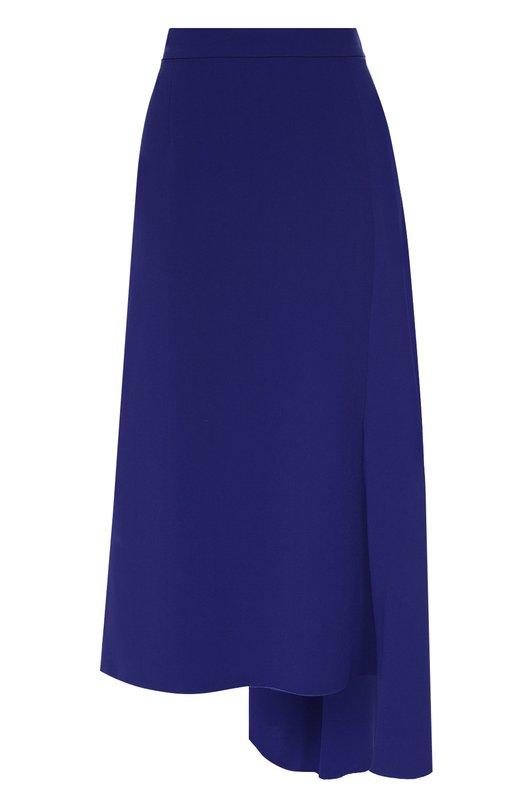 Юбка-миди асимметричного кроя EscadaЮбки<br>Для создания юбки Reiki асимметричного кроя мастера марки использовали мягкую, легко драпирующуюся ткань синего цвета. Модель длиной ниже колена, с завышенной линией талии вошла в коллекцию сезона осень-зима 2016 года. Советуем носить с черными водолазкой, туфлями на высокой шпильке и сумкой.<br><br>Российский размер RU: 52<br>Пол: Женский<br>Возраст: Взрослый<br>Размер производителя vendor: 44<br>Материал: Триацетат: 65%; Полиэстер: 35%;<br>Цвет: Синий