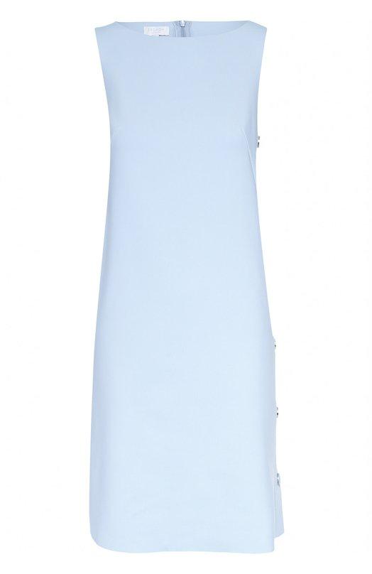 Платье прямого кроя без рукавов с декоративной отделкой Escada SportПлатья<br>Светло-голубое платье Dadori вошло в коллекцию сезона осень-зима 2016 года. Для создания модели без рукавов, с вырезом бато использован мягкий эластичный материал. Левый боковой шов дополнен планкой с декоративными кнопками в тон. Нам нравится сочетать с серебристыми босоножками.<br><br>Российский размер RU: 44<br>Пол: Женский<br>Возраст: Взрослый<br>Размер производителя vendor: 36<br>Материал: Полиамид: 85%; Эластан: 15%;<br>Цвет: Светло-голубой