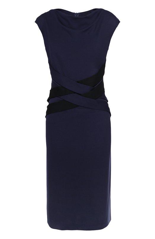 Приталенное платье без рукавов с декоративной отделкой EscadaПлатья<br>В коллекцию сезона осень-зима 2016 года вошло темно-синее платье без рукавов, с вырезом-лодочкой. Мастера марки сшили облегающую модель Disabell из эластичной мягкой вискозы. Переплетающиеся широкие ленты на поясе подчеркивают линию талии. Изделие застегивается сзади на потайную молнию.<br><br>Российский размер RU: 50<br>Пол: Женский<br>Возраст: Взрослый<br>Размер производителя vendor: 42<br>Материал: Вискоза: 77%; Эластан: 3%; Полиамид: 20%;<br>Цвет: Темно-синий