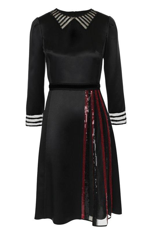 Шелковое платье с прозрачными вставками и отделкой пайетками Marc Jacobs M4005720