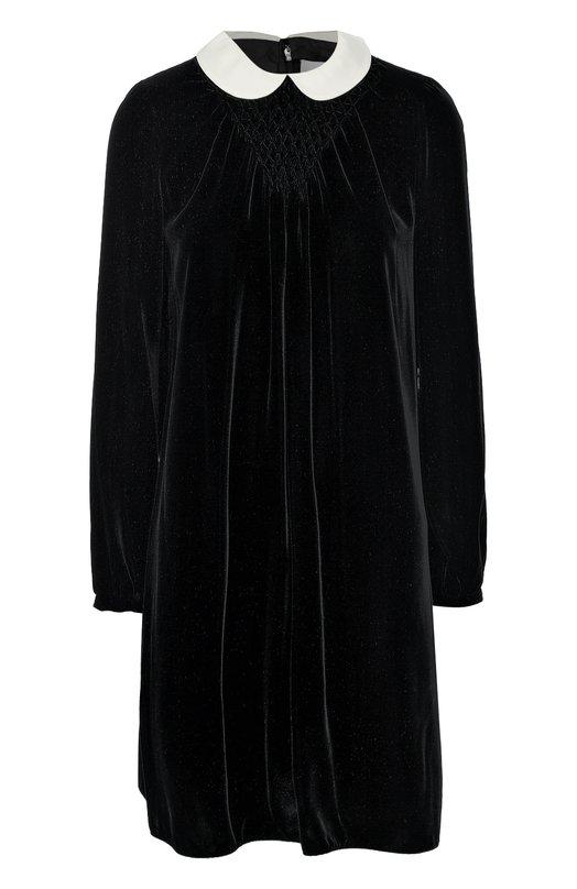 Бархатное мини-платье прямого кроя с контрастным воротником ValentinoПлатья<br>Короткое прямое платье с длинными рукавами вошло в осенне-зимнюю коллекцию бренда, основанного Валентино Гаравани. Модель сшита из мягкого черного бархата, отложной воротник – из белого гладкого шелка. На груди – драпировка буфами. Рекомендуем сочетать с лаковыми туфлями в тон.<br><br>Российский размер RU: 50<br>Пол: Женский<br>Возраст: Взрослый<br>Размер производителя vendor: 48<br>Материал: Вискоза: 78%; Шелк: 22%; Воротник-шёлк: 100%;<br>Цвет: Черно-белый
