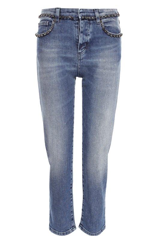 Джинсы No. 21Джинсы<br>Синие укороченные джинсы с высокой посадкой вошли в осенне-зимнюю коллекцию 2016 года. Модель с небольшими потертостями сшита из эластичного денима. Алессандро Дель Аква дополнил пояс и передние карманы отделкой из страз. Советуем носить с бежевым джемпером, коралловым пальто и белыми кедами.<br><br>Российский размер RU: 44<br>Пол: Женский<br>Возраст: Взрослый<br>Размер производителя vendor: 27<br>Материал: Хлопок: 98%; Отделка-металлизир.волокно: 50%; Отделка-стекло: 50%; Эластан: 2%;<br>Цвет: Синий