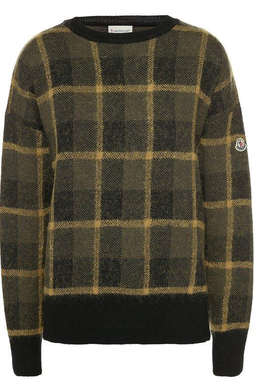 Пуловер свободного кроя со спущенным рукавом MonclerСвитеры<br>В коллекцию сезона осень-зима 2016 года вошел пуловер, свободного коря, со спущенной линией плеч и круглым вырезом. Модель из мягкой шерстяной пряжи цвета хаки украшена вывязанным клетчатым узором. В боковые швы вшиты короткие молнии. Левый рукав декорирован небольшой нашивкой.<br><br>Российский размер RU: 44<br>Пол: Женский<br>Возраст: Взрослый<br>Размер производителя vendor: S<br>Материал: Шерсть: 88%; Мохер: 7%; Полиамид: 5%;<br>Цвет: Хаки