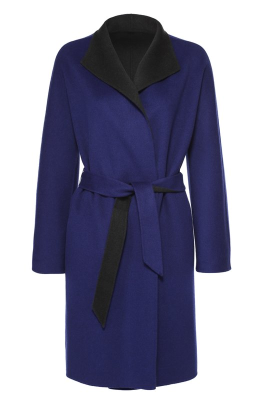 Пальто прямого кроя с укороченным рукавом и поясом Armani CollezioniПальто и плащи<br>Джорджио Армани включил в осенне-зимнюю коллекцию 2016 года пальто прямого кроя, с запахом и длинным поясом. При создании модели была использована ярко-синяя мягкая шерсть с добавлением шелковых нитей, предотвращающих образование катышек. Изнаночная сторона выполнена из такого же материала черного цвета.<br><br>Российский размер RU: 52<br>Пол: Женский<br>Возраст: Взрослый<br>Размер производителя vendor: 50<br>Материал: Шерсть: 90%; Кашемир: 10%;<br>Цвет: Синий