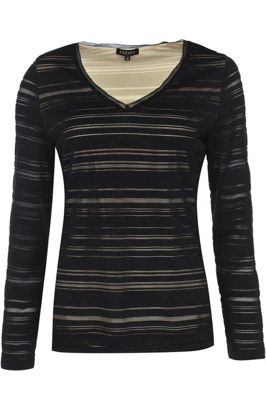 Приталенный пуловер с V-образным вырезом и полупрозрачными вставками EscadaСвитеры<br><br><br>Российский размер RU: 40<br>Пол: Женский<br>Возраст: Взрослый<br>Размер производителя vendor: XS<br>Материал: Полиэстер: 98%; Подкладка-полиамид: 86%; Эластан: 2%; Подкладка-эластан: 14%;<br>Цвет: Черно-белый