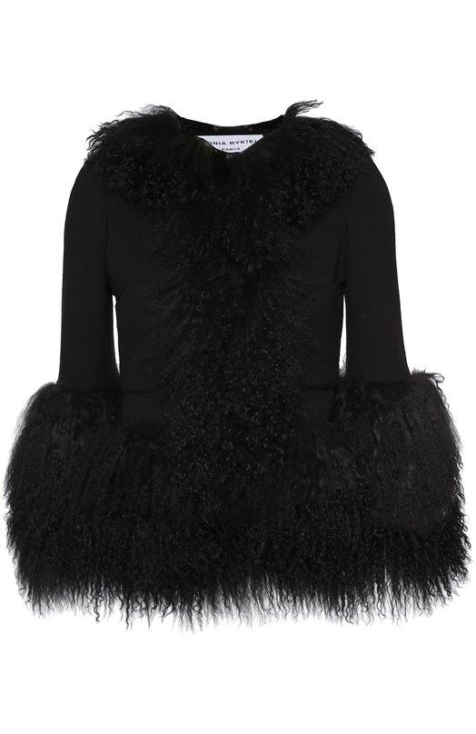 Укороченная куртка с круглым вырезом и меховой отделкой Sonia RykielКуртки<br>Черный жакет из плотного шерстяного текстиля с добавлением эластана дополнен объемной отделкой из длинного меха, окрашенного в тон. Изделие с рукавами 3/4 и двумя боковыми накладными карманами вошло в осенне-зимнюю коллекцию 2016 года.<br><br>Российский размер RU: 42<br>Пол: Женский<br>Возраст: Взрослый<br>Размер производителя vendor: 36<br>Материал: Шерсть: 93%; Полиамид: 5%; Эластан: 2%; Подкладка-купра: 100%; Отделка мех./ягнёнок/: 100%;<br>Цвет: Черный