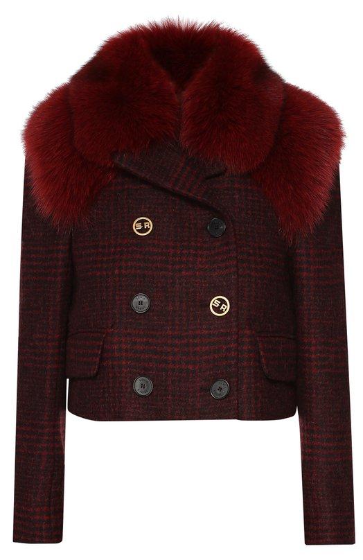 Укороченная шерстяная куртка с меховой отделкой Sonia Rykiel 16H 16231149-58