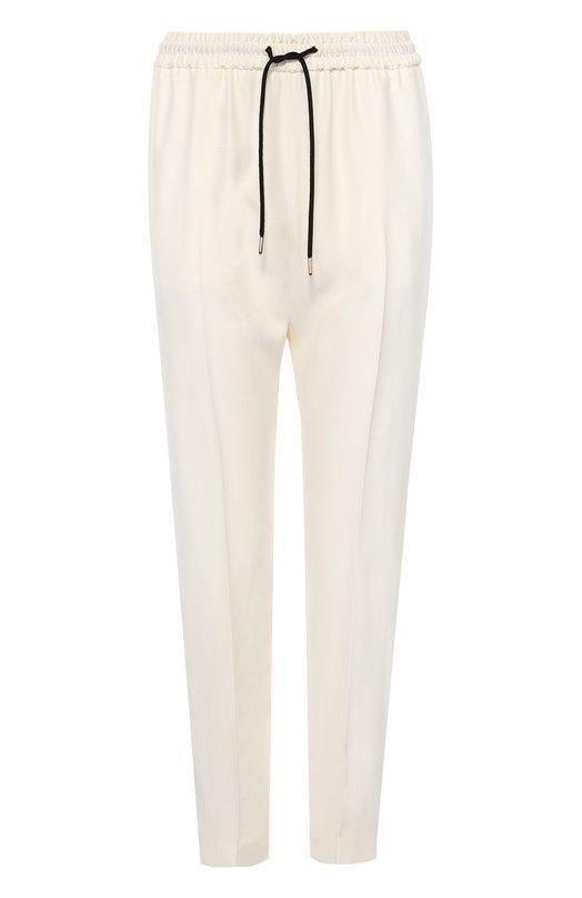 Шелковые брюки с контрастными лампасами и эластичным поясом Burberry 4027820