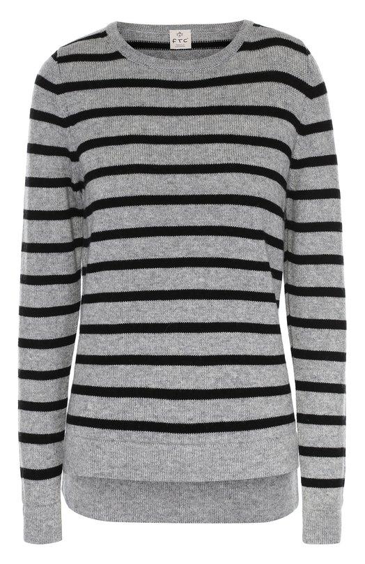 Пуловер в полоску прямого кроя с круглым вырезом FTCСвитеры<br>Серый пуловер в полоску, с круглой горловиной вошел в осенне-зимнюю коллекцию 2016 года. Удлиненная сзади модель связана из тонкого шелковистого кашемира SeaCell. Бурые водоросли, входящие в состав пряжи, успокаивающе действуют на кожу.<br><br>Российский размер RU: 48<br>Пол: Женский<br>Возраст: Взрослый<br>Размер производителя vendor: L<br>Материал: Кашемир: 50%; Лиоселл: 50%;<br>Цвет: Серый