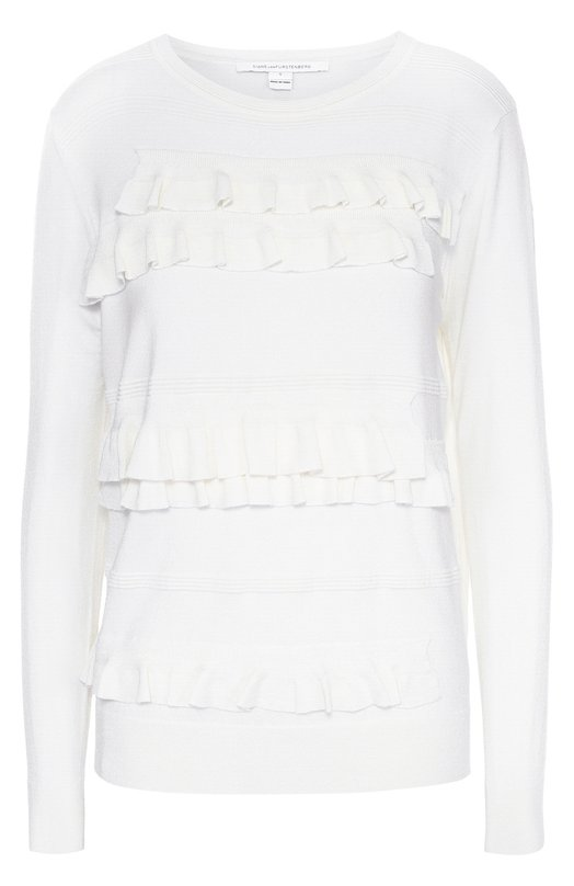 Пуловер с круглым вырезом и рюшами Diane Von FurstenbergСвитеры<br>Белый облегающий пуловер с длинными рукавами и круглым вырезом вошел в осенне-зимнюю коллекцию марки, основанной Дианой фон Фюстенберг. Модель из тонкой эластичной пряжи украшена спереди рельефными вязаными узорами и рюшами. Советуем носить с кюлотами, а также туфлями и сумкой черного цвета.<br><br>Российский размер RU: 48<br>Пол: Женский<br>Возраст: Взрослый<br>Размер производителя vendor: L<br>Материал: Полиамид: 8%; Шерсть: 41%; Вискоза: 41%; Лайкра: 10%;<br>Цвет: Белый