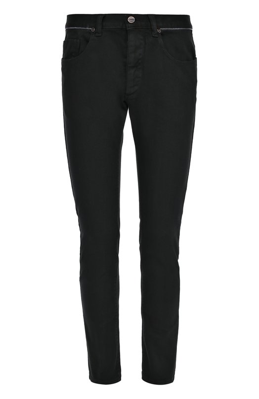 Зауженные джинсы с контрастным кантом на поясе Frankie MorelloДжинсы<br>Черные зауженные джинсы с классической посадкой вошли в коллекцию сезона осень-зима 2016 года. Модель сшита из эластичного мягкого хлопка. Пояс отделан контрастным кантом. Наши стилисты рекомендуют сочетать с черными кедами, белой водолазкой, синей курткой и серым жилетом.<br><br>Российский размер RU: 54<br>Пол: Мужской<br>Возраст: Взрослый<br>Размер производителя vendor: 34<br>Материал: Хлопок: 98%; Эластан: 2%;<br>Цвет: Черный