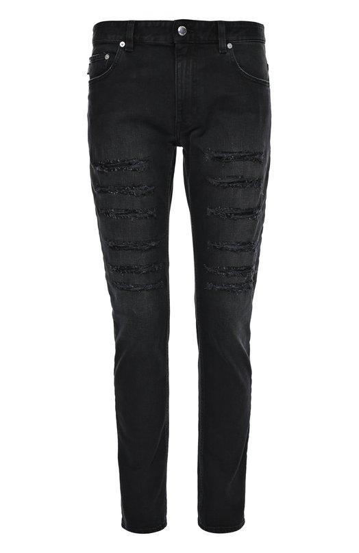 Зауженные джинсы с потертостями MoschinoДжинсы<br>Зауженные черные джинсы с декоративными необработанными разрезами на бедрах сшиты из эластичного потертого хлопка. Модель с классической посадкой на талии вошла в коллекцию сезона осень-зима 2016 года. Нам нравится сочетать с поло и дерби в тон, а также с серым бомбером.<br><br>Российский размер RU: 46<br>Пол: Мужской<br>Возраст: Взрослый<br>Размер производителя vendor: 30<br>Материал: Хлопок: 98%; Эластан: 2%;<br>Цвет: Черный