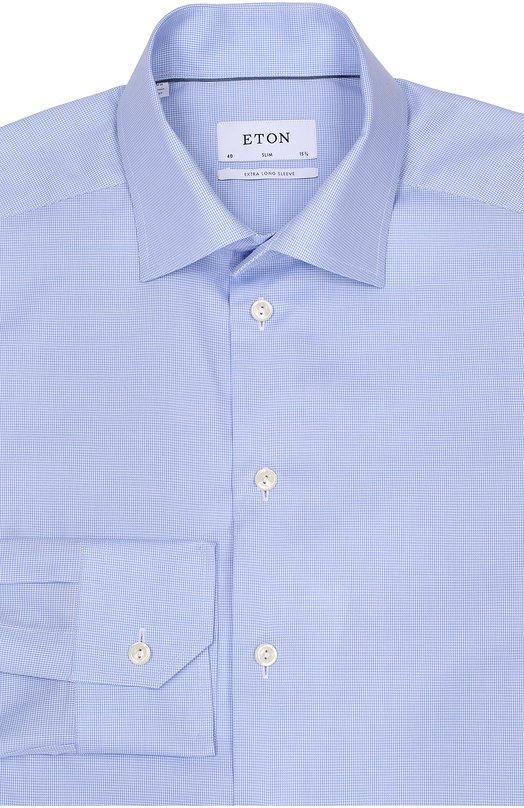 Хлопковая приталенная сорочка EtonРубашки<br>Дизайнеры бренда включили светло-голубую рубашку в осенне-зимнюю коллекцию 2016 года. Приталенная модель с воротником кент и манжетами итальянского типа сшита из тонкого гладкого хлопка в мелкую клетку. Рекомендуем сочетать с голубыми джинсами, синей курткой и коричневыми ботинками.<br><br>Российский размер RU: 38<br>Пол: Мужской<br>Возраст: Взрослый<br>Размер производителя vendor: 38<br>Материал: Хлопок: 100%;<br>Цвет: Светло-голубой