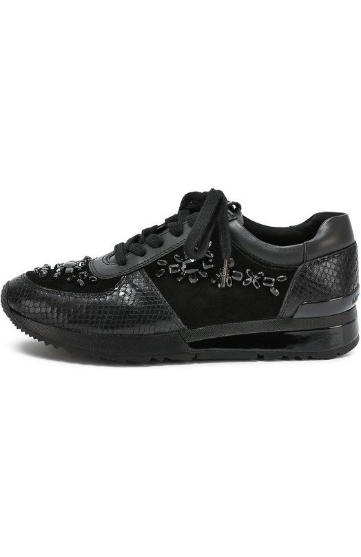 Комбинированные кроссовки с кристаллами Michael Michael Kors 43F6ALFS6S