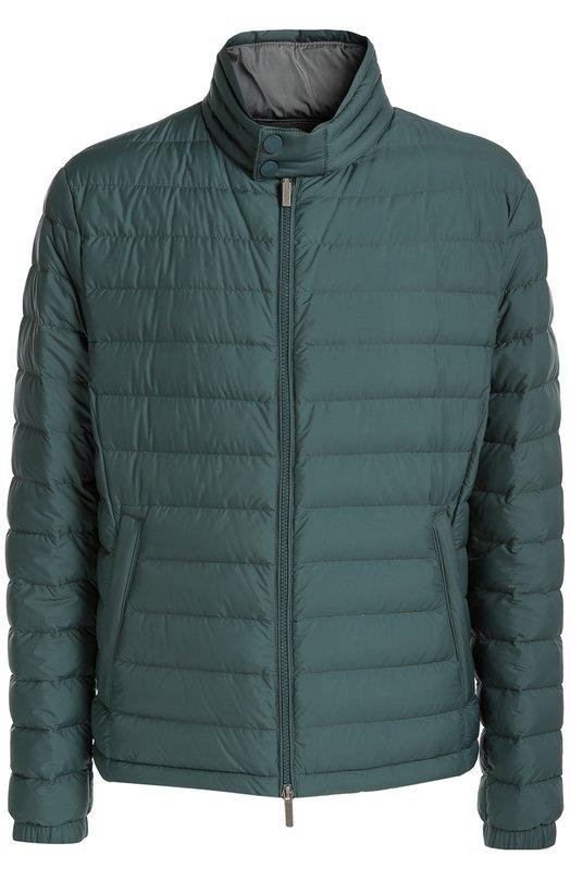 Стеганый пуховик на молнии с воротником-стойкой BOSSКуртки<br>Легкий тонкий пуховик вошел в коллекцию сезона осень-зима 2016 года. Куртка, утепленная отборным пухом и пером, сшита из прочного непромокаемого текстиля зеленого цвета. Модель с длинными рукавами застегивается на молнию.<br><br>Российский размер RU: 50<br>Пол: Мужской<br>Возраст: Взрослый<br>Размер производителя vendor: 48<br>Материал: Полиамид: 100%; Пух: 80%; Перо: 20%;<br>Цвет: Зеленый