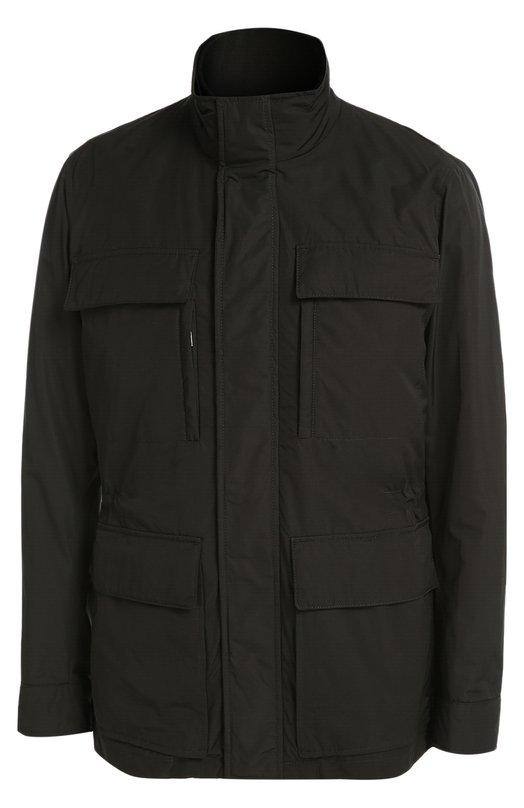 Удлиненная куртка с воротником-стойкой BOSSКуртки<br>Черная куртка Casven из прочного непромокаемого нейлона вошла в осенне-зимнюю коллекцию 2016 года. Модель с воротником-стойкой, двумя передними и четырьмя нагрудными карманами застегивается на молнию, скрытую под клапаном с кнопками. Изделие дополнено съемной подкладкой.<br><br>Российский размер RU: 54<br>Пол: Мужской<br>Возраст: Взрослый<br>Размер производителя vendor: 52<br>Материал: Полиамид: 100%;<br>Цвет: Черный