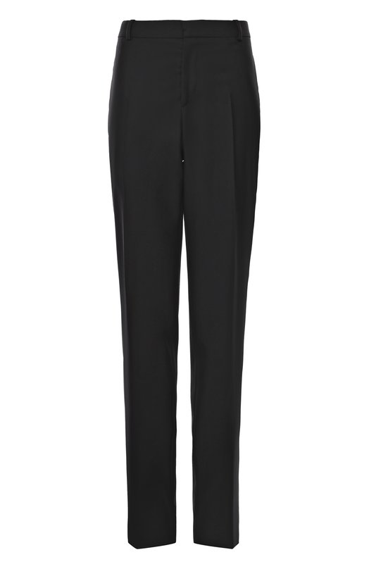 Шерстяные брюки прямого кроя с контрастными лампасами Alexander McQueenБрюки<br>Черные прямые брюки со стрелками сшиты из тонкого шерстяного габардина. Сара Бертон дополнила классическую модель с двумя боковыми и двумя задними прорезными карманами тонкими белыми лампасами. Наши стилисты рекомендуют носить с белоснежной рубашкой, черными дерби и бомбером с пестрым орнаментом.<br><br>Российский размер RU: 50<br>Пол: Мужской<br>Возраст: Взрослый<br>Размер производителя vendor: 48<br>Материал: Подкладка-акрил: 60%; Подкладка-вискоза: 40%; Шерсть: 100%;<br>Цвет: Черный
