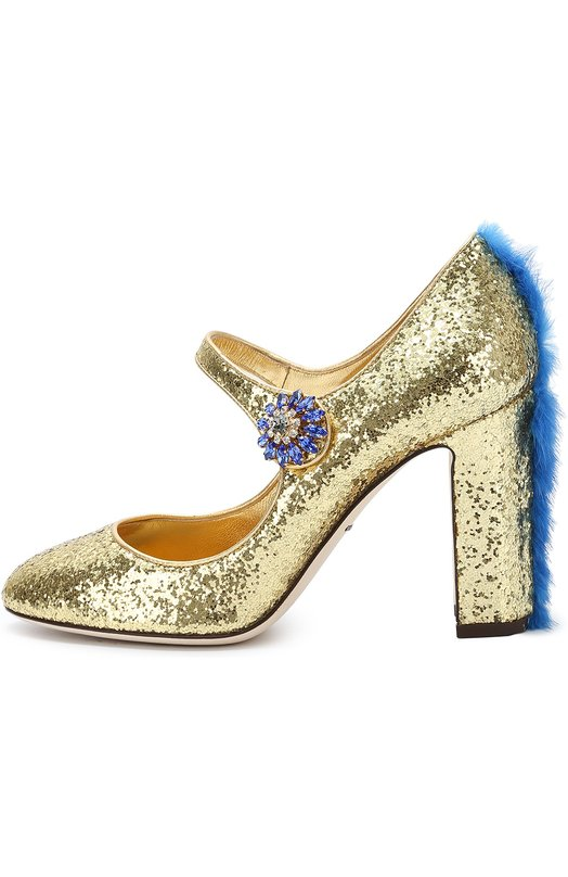 Туфли Vally с глиттером и меховой отделкой Dolce &amp; GabbanaТуфли<br>Доменико Дольче и Стефано Габбана включили в осенне-зимнюю коллекцию 2016 года туфли Vally. Модель сшита из прочного текстиля с золотистым глиттером. Высокий устойчивый каблук украшен вставкой из крашенного меха норки, пуговица на ремешке – цветком из кристаллов Swarovski.<br><br>Российский размер RU: 37<br>Пол: Женский<br>Возраст: Взрослый<br>Размер производителя vendor: 37-5<br>Материал: Мех/норка/: 4%; Полиэстер: 35%; Полиуретан: 25%; Кожа натуральная: 25%; Вискоза: 11%; Стелька-кожа: 100%; Подошва-кожа: 100%;<br>Цвет: Золотой