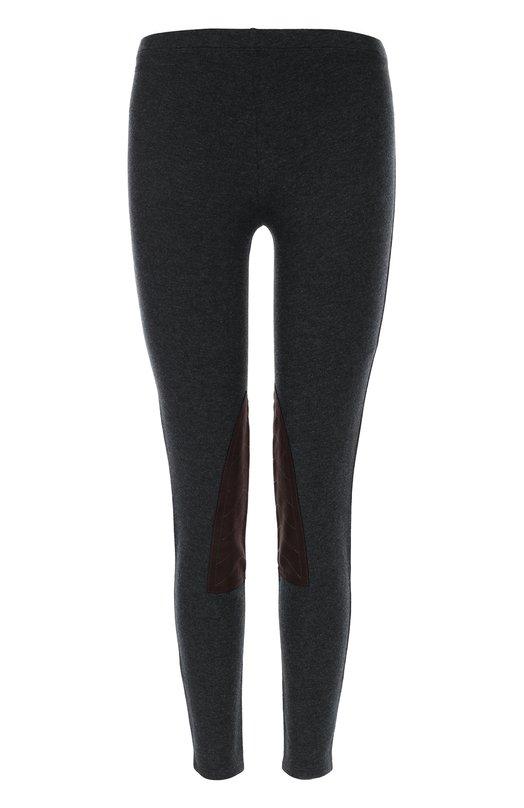 Леггинcы с замшевыми заплатками Polo Ralph LaurenЛеггинсы<br>Ральф Лорен выбрал для пошива леггинсов из осенне-зимней коллекции 2016 года мягкий хлопок с добавлением лиоселла, поэтому изделие тянется, но не вытягивается. Эластановые волокна в составе ткани обеспечивают плотное прилегание к телу. На внутренней стороне коленей – защитные коричневые вставки.<br><br>Российский размер RU: 52<br>Пол: Женский<br>Возраст: Взрослый<br>Размер производителя vendor: XL<br>Материал: Эластан: 5%; Хлопок: 48%; Лиоселл: 47%; Отделка замша натуральная: 100%;<br>Цвет: Серый