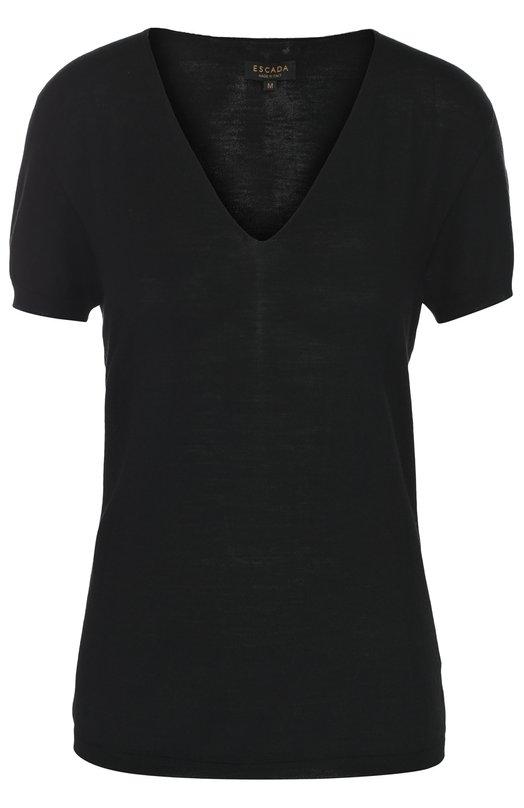 Шерстяной пуловер с коротким рукавом и V-образным вырезом EscadaСвитеры<br><br><br>Российский размер RU: 44<br>Пол: Женский<br>Возраст: Взрослый<br>Размер производителя vendor: M<br>Материал: Шерсть: 100%;<br>Цвет: Черный