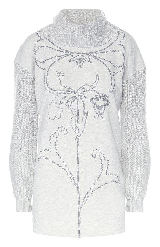 Удлиненный свитер с воротником-хомут и принтом Escada Sport 5021535