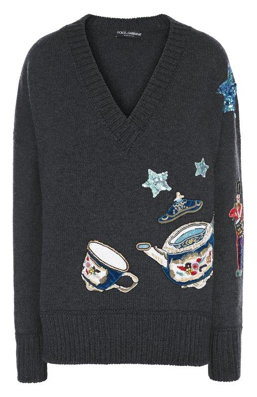 Кашемировый пуловер с яркой вышивкой и V-образным вырезом Dolce & Gabbana 0102/FP217K/F69BF