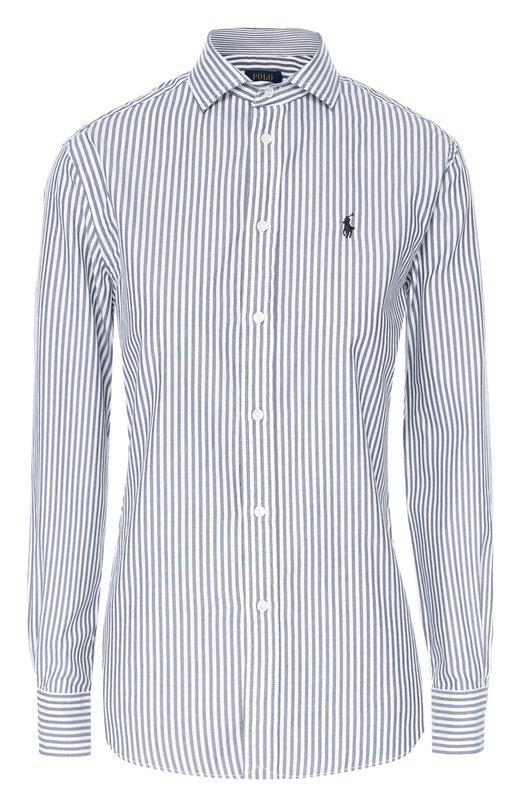 Хлопковая блуза прямого кроя в полоску Polo Ralph LaurenБлузы<br>Для создания рубашки прямого кроя Ральф Лорен выбрал тонкий и мягкий хлопок в узкую вертикальную полосу. Модель с отложным воротником вошла в коллекцию сезона осень-зима 2016 года. На груди ? небольшая вышивка в виде эмблемы марки.<br><br>Российский размер RU: 44<br>Пол: Женский<br>Возраст: Взрослый<br>Размер производителя vendor: 6<br>Материал: Хлопок: 100%;<br>Цвет: Черный