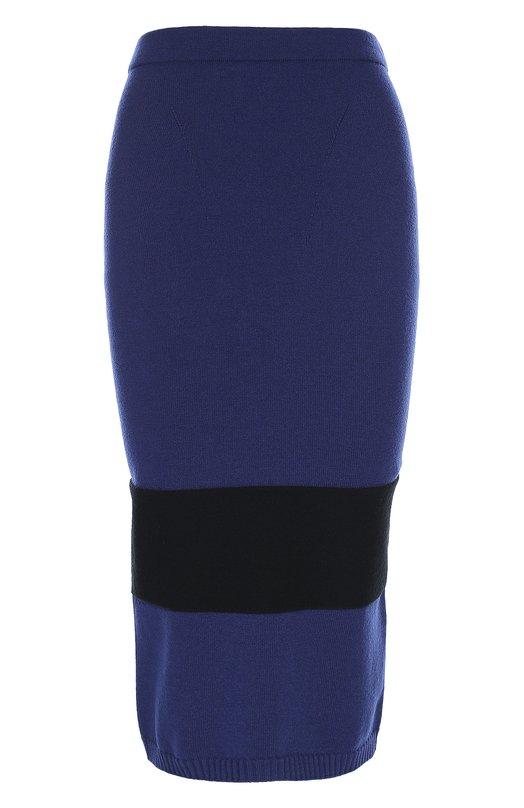 Облегающая вязаная юбка с контрастной полоской Escada SportЮбки<br>Темно-синяя юбка-карандаш с эластичным поясом и широкой контрастной полосой вошла в коллекцию сезона осень-зима 2016 года. Модель из тонкого шерстяного трикотажа дополнена внизу кантом, связанным в технике английской резинки. Сзади — миниатюрная металлическая пластина с логотипом марки.<br><br>Российский размер RU: 40<br>Пол: Женский<br>Возраст: Взрослый<br>Размер производителя vendor: XS<br>Материал: Шерсть: 88%; Полиэстер: 12%;<br>Цвет: Темно-синий
