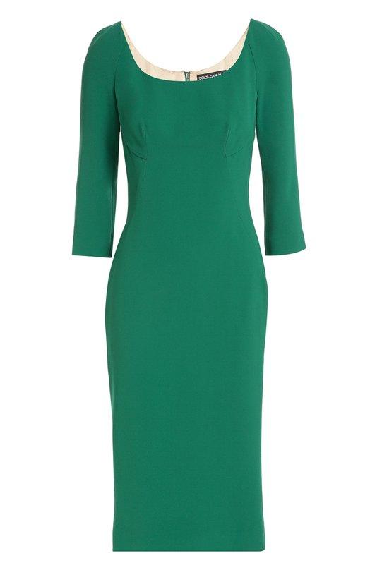 Платье-футляр с укороченным рукавом и круглым вырезом Dolce &amp; GabbanaПлатья<br>Зеленое платье-футляр с укороченными рукавами и вырезом-лодочкой спереди и сзади вошло в коллекцию сезона осень-зима 2016 года. Доменико Дольче и Стефано Габбана выбрали для пошива модели плотный гладкий кади с шелковистой текстурой. Изделие со шлицей застегивается сзади на потайную молнию.<br><br>Российский размер RU: 42<br>Пол: Женский<br>Возраст: Взрослый<br>Размер производителя vendor: 40<br>Материал: Подкладка-шелк: 94%; Подкладка-эластан: 6%; Вискоза: 51%; Ацетат: 46%; Эластан: 3%;<br>Цвет: Темно-зеленый