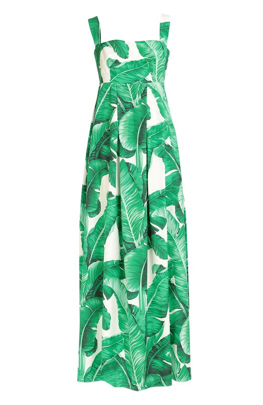 Сарафан с завышенной талией и цветочным принтом Dolce &amp; GabbanaПлатья<br>На создание принта в виде банановых листьев Доменико Дольче и Стефано Габбана вдохновил Ботанический сад в Палермо. Длинный сарафан с завышенной талией сшит из тонкого хлопка поплина. Модель, застегивающаяся сзади на потайную молнию, вошла в осенне-зимнюю коллекцию 2016 года.<br><br>Российский размер RU: 46<br>Пол: Женский<br>Возраст: Взрослый<br>Размер производителя vendor: 44<br>Материал: Хлопок: 100%; Подкладка-хлопок: 100%;<br>Цвет: Зеленый