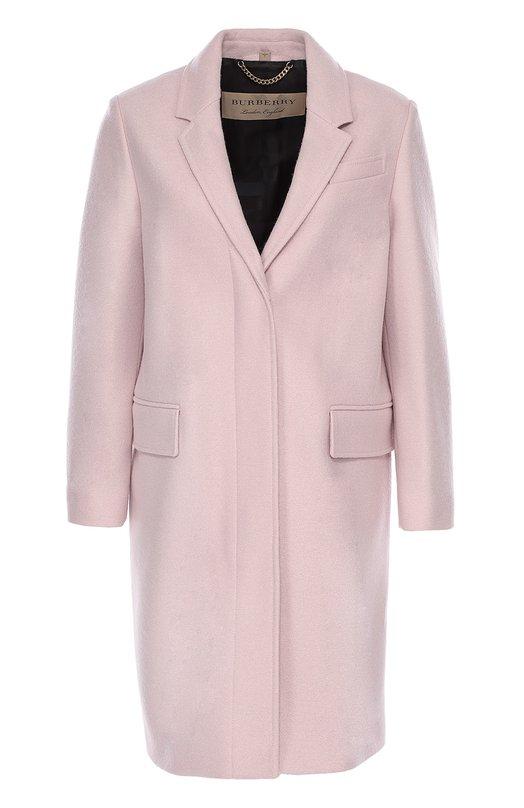 Шерстяное пальто прямого кроя с узкими лацканами Burberry 4019184