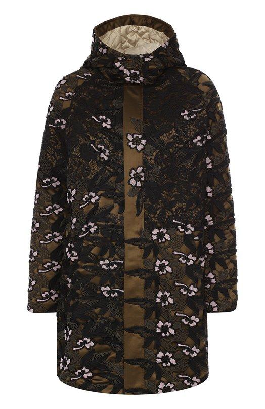 Парка асимметричного кроя с кружевной отделкой self-portraitКуртки<br>Мастера бренда произвели коричневое стеганое пальто с удлиненной спинкой из гладкого блестящего шелка, сверху покрытого черно-белым гипюром. Утепленная модель с капюшоном вошла в коллекцию сезона осень-зима 2016 года. Изделие застегивается на потайную молнию.<br><br>Российский размер RU: 40<br>Пол: Женский<br>Возраст: Взрослый<br>Размер производителя vendor: 6<br>Материал: Полиэстер: 100%; Подкладка-полиэстер: 100%;<br>Цвет: Разноцветный
