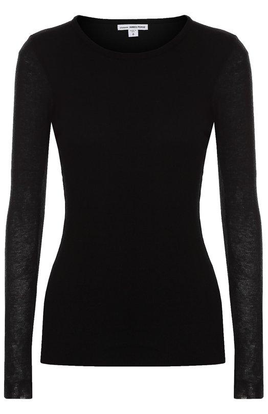Облегающий пуловер с круглым вырезом James PerseСвитеры<br>Джеймс Пирс включил черный облегающий пуловер в осенне-зимнюю коллекцию 2016 года. Модель с круглым вырезом и длинными рукавами связана из мягкой, приятной на ощупь хлопковой пряжи с добавлением шерсти. Нам нравится носить с серым кардиганом, темными джинсами и кроссовками.<br><br>Российский размер RU: 40<br>Пол: Женский<br>Возраст: Взрослый<br>Размер производителя vendor: 1<br>Материал: Хлопок: 90%; Шерсть: 10%;<br>Цвет: Черный