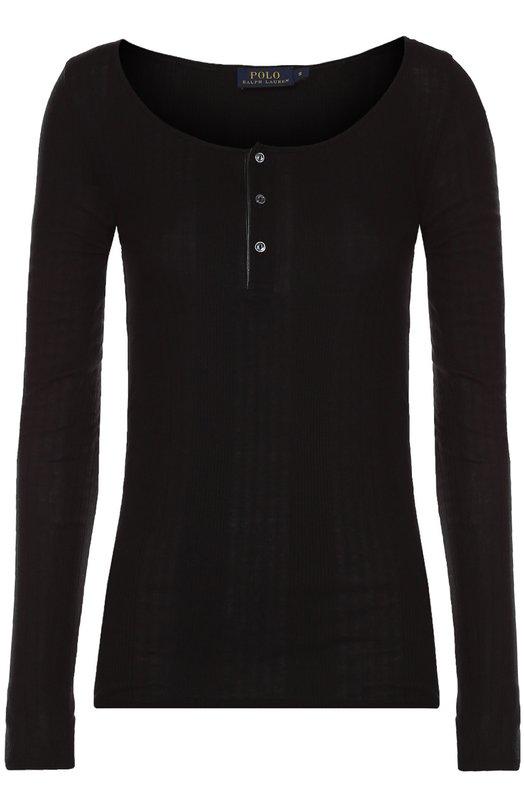 Облегающий пуловер с круглым вырезом Polo Ralph LaurenСвитеры<br>Для производства черного пуловера с длинными рукавами и круглым вырезом Ральф Лорен выбрал мягкий хлопковый трикотаж. Модель из коллекции сезона осень-зима 2016 года застегивается на три пуговицы спереди, как хенли. Нам нравится носить с темными джинсами, серым джемпером и слипонами цвета хаки.<br><br>Российский размер RU: 40<br>Пол: Женский<br>Возраст: Взрослый<br>Размер производителя vendor: XS<br>Материал: Хлопок: 60%; Лиоселл: 40%;<br>Цвет: Черный