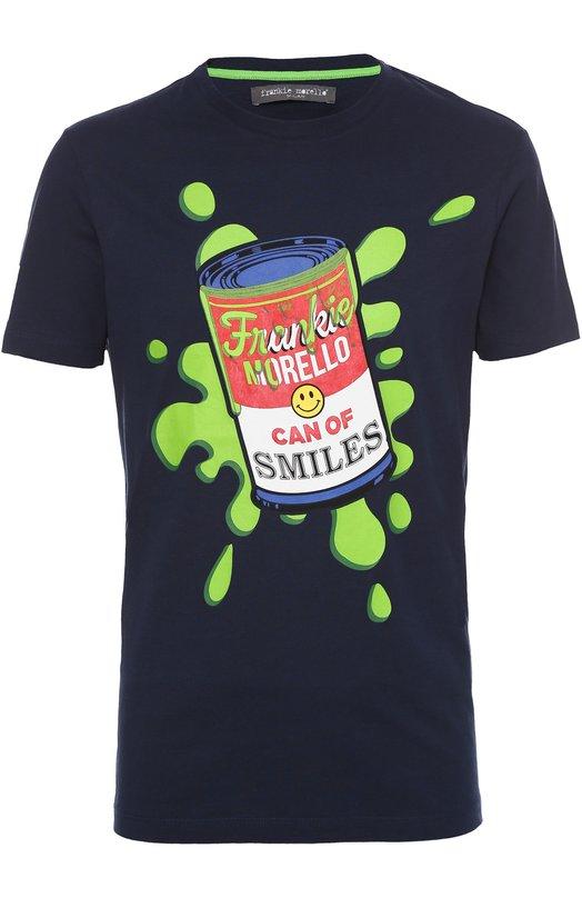 Хлопковая футболка с контрастным принтом Frankie Morello FMJT48AMC003