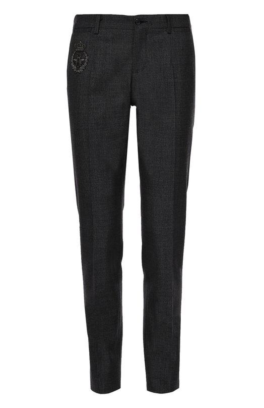 Брюки из смеси шерсти и хлопка с вышивкой Dolce & Gabbana 0101/G60XMZ/GE557