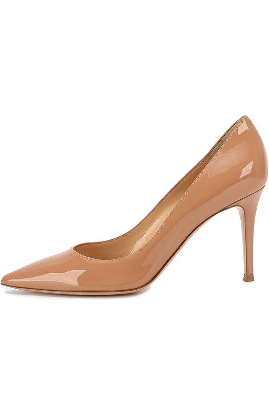 Лаковые туфли Gianvito 85 на шпильке Gianvito RossiТуфли<br>Джанвито Росси включил туфли-лодочки с зауженным мысом, на тонком каблуке средней высоты в коллекцию сезона осень-зима 2016 года. Для изготовления модели Gianvito мастера бренда использовали гладкую лакированную кожу.<br><br>Российский размер RU: 37<br>Пол: Женский<br>Возраст: Взрослый<br>Размер производителя vendor: 37-5<br>Материал: Кожа натуральная: 100%; Стелька-кожа: 100%; Подошва-кожа: 100%;<br>Цвет: Розовый