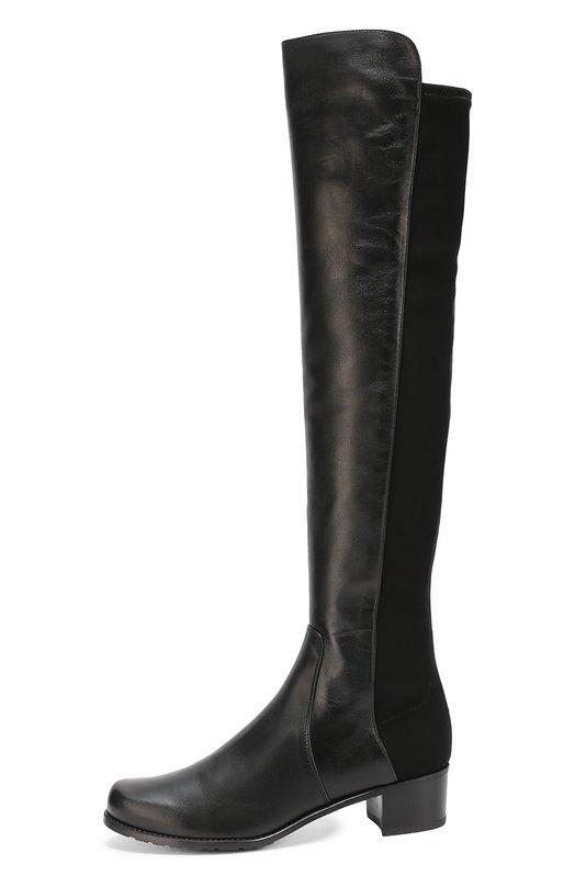 Кожаные ботфорты на устойчивом каблуке Stuart WeitzmanСапоги<br>Стюарт Вайцман включил в коллекцию сезона осень-зима 2016 года черные ботфорты 5050 на тонкой нескользящей подошве и устойчивом квадратном каблуке. Обувь сшита из бархатистой мягкой замши. Для удобства задняя часть голенища выполнена из эластичного непромокаемого материала в тон.<br><br>Российский размер RU: 38<br>Пол: Женский<br>Возраст: Взрослый<br>Размер производителя vendor: 38-5<br>Материал: Кожа натуральная: 100%; Стелька-кожа: 100%; Подошва-резина: 100%;<br>Цвет: Черный