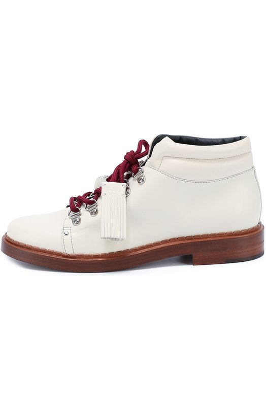 Кожаные ботинки на шнурках с декором Tod'sБотинки<br>На создание белоснежной модели из осенне-зимней коллекции 2016 года Алессандру Факкинетти вдохновили треккинговые ботинки. Поэтому обувь дополняют широкая подошва с небольшим каблуком и бордовая шнуровка, пропущенная через металлические D-образные люверсы. Обувь сшита из матовой гладкой кожи.<br><br>Российский размер RU: 35<br>Пол: Женский<br>Возраст: Взрослый<br>Размер производителя vendor: 35-5<br>Материал: Кожа натуральная: 100%; Стелька-кожа: 100%; Подошва-кожа: 100%;<br>Цвет: Белый
