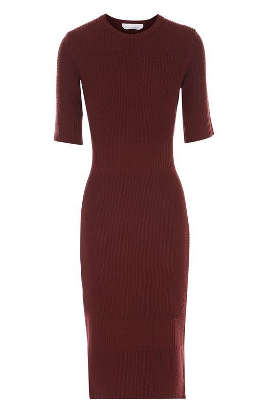 Облегающее платье-миди с разрезами HUGOПлатья<br><br><br>Российский размер RU: 40<br>Пол: Женский<br>Возраст: Взрослый<br>Размер производителя vendor: XS<br>Материал: Вискоза: 67%; Полиэстер: 33%;<br>Цвет: Бордовый